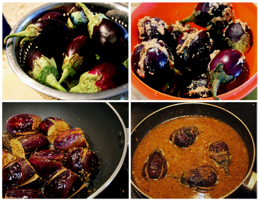 (L-R) 1. the glorious Indian eggplants 2. Slit the botton, while keeping the stems intact. Stuff the ground Masala generously. 3. Fry it crisp on all the sides in a pan 4. Simmer in the gravy until cooked