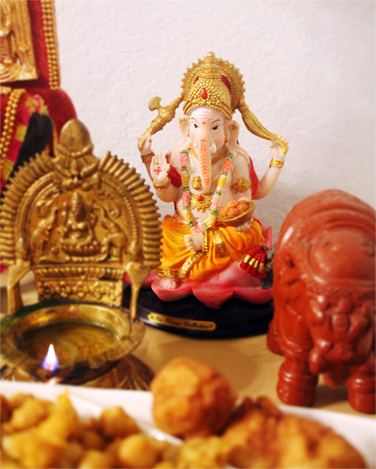Our elephant-faced god, Vinayaka...
